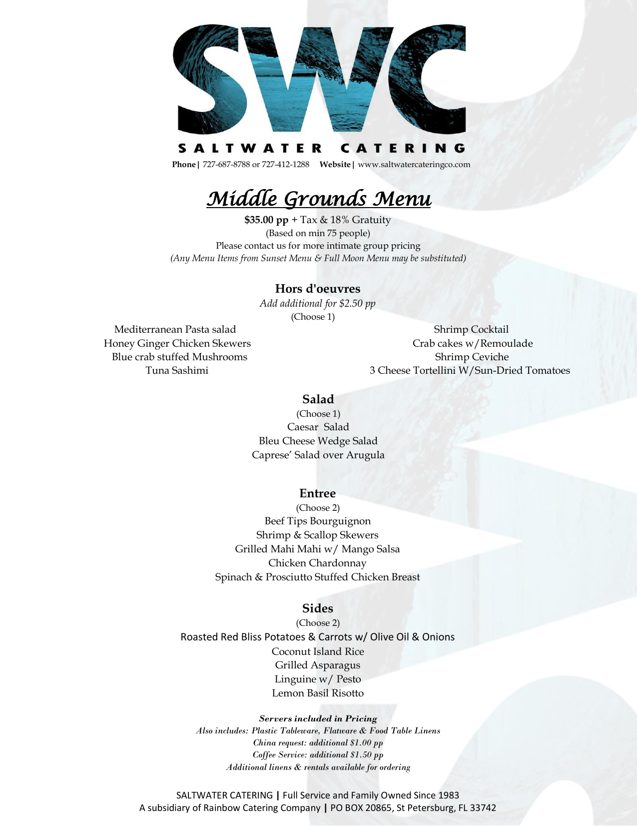 Middle Grounds Menu